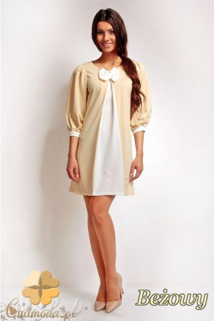 Sukienka z kokardką i wstawką w kształcie litery A marki Karen Styl.  #cudmoda #moda #ubrania #odzież #sukienki #clothes