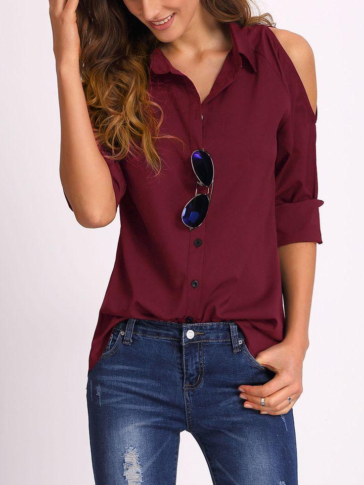 Blusa con hombro abierto-(Sheinside)