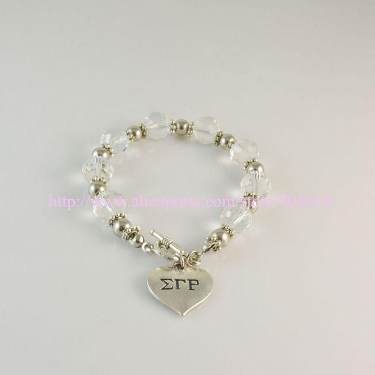 Sigma Gamma Rho Sorority sliver heart  charm  bracelet Jewelry available custom bracelet Jewelry 5pc free shipping