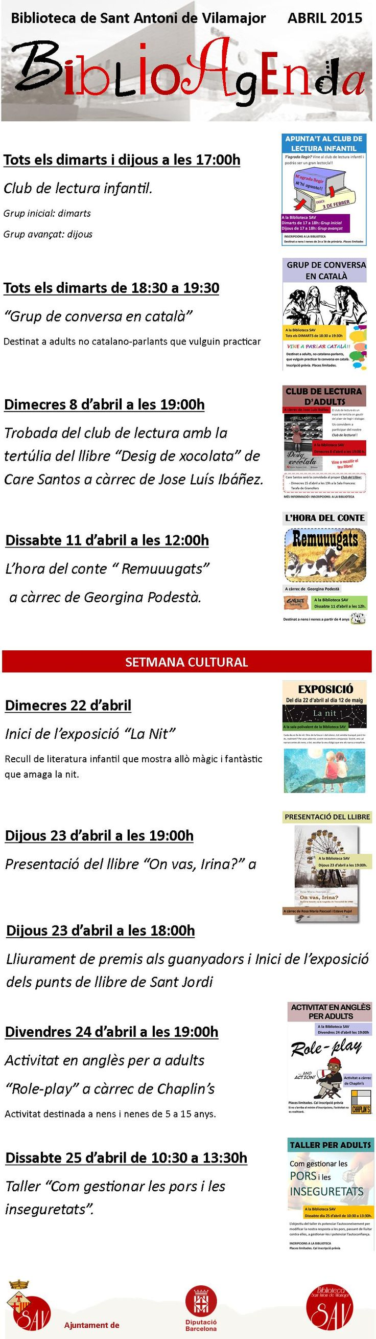 BiblioAgenda Abril - Setmana Cultural