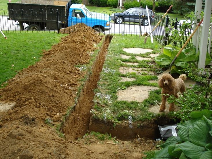 French Drain With Exterior Sump Pump Backyard Drainage Sump Pump Backyard