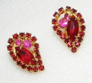 Vintage Red Pink Rhinestone Earrings Clip Ons Costume Jewelry | eBay