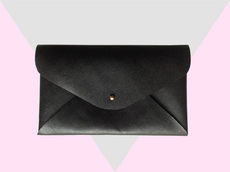 Universal Bag for pencils and cosmetics, black leather. Available at Heydays / Dawanda*