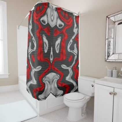Red And Silver Shower Curtain