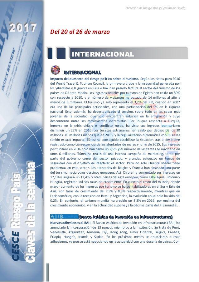 Resumen de las noticias internacionales más destacadas del 20 al 26 de marzo de 2017, elaborado por el departamento de Riesgo País de CESCE.