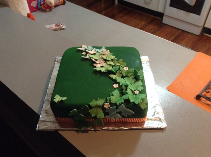 Green Butterfly birthday cake