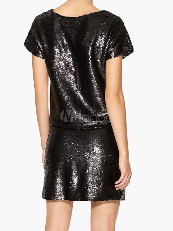 c6145bd6 Black Sequin Top Women's Short Sleeve Glitter T Shirt #Top, #Women, #Black