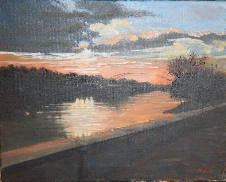 - Tiszavirág híd  - Naplemente  -  Mayfly (Tiszavirág) - Bridge Sunset  -  Günbatımı  50 x 40 cm oil on canvas