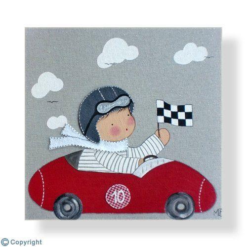 Cuadro infantil personalizado: Niño piloto de carreras (ref. 12015-01)