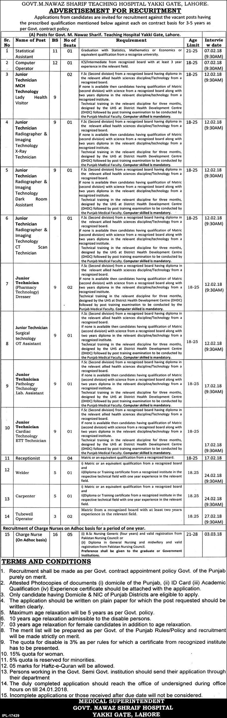Government Jobs M Nawaz Sharif Teaching Hospital Yakki Gate, Lahore Advertisement for Recuritment  GOVT.M.NAWAZ SHARIF TEACHING HOSPITAL YAKKI GATE, LAHORE.  ADVERTISEMENT FOR RECURITMENT  Applications from candidates are invited for recruitment against the vacant posts having the prescribed qualification mentioned below against each on contract basis for 3-5 years as per Govt. contract policy.   #Announcement #Application #Authority #breakingnews #Bureau #career #Co