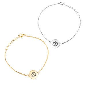 Medical alert charm bracelets.  These beautiful gold and silver bracelets come pre-engraved with medical alert symbol and allow adequate space for personal medical details on the back.  These charm bracelets are adjustable and provide a pretty minimalist look.