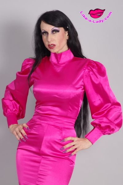 custom tailored satin blouse and skirt | Like-a-lady.com ...