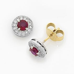 'Halo' Burmese ruby and diamond earrings by IMP Jewellery