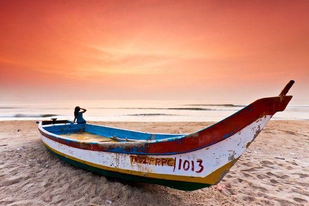 Marina beach, Chennai, India.  I have a photo that's almost the same.