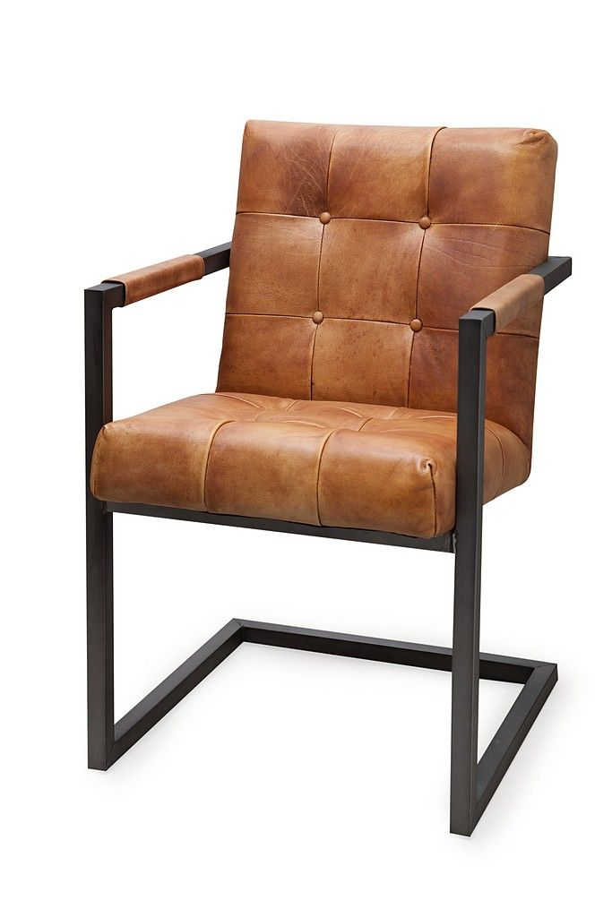 Eetkamerstoel en bureaustoel Buffelleer Vintage uitstraling met strakke stiksels, leren knopen en industrieel stoer onderstel.