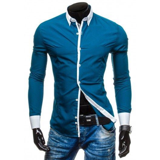 Pánska modrá košeľa s bielym lemovaním - fashionday.eu