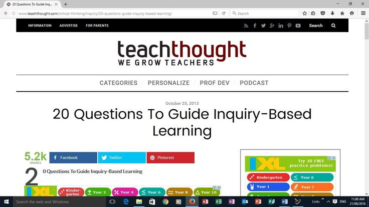Information rich containing questions and answers and real-life examples across a wide spectrum of grades and subject areas. It breaks the site down into categories such as critical thinking, learning, teaching, and the future of learning.  What do I want to know about this topic? What kinds of resources might help? How do I know the information is valid? And, in a nod to digital and social media, how do I use media to express my message? See more at…