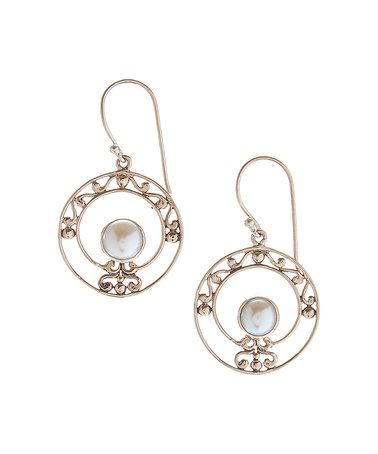 Another great find on #zulily! Pearl & Sterling Silver Filigree Circle Drop Earrings #zulilyfinds