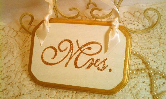 Sparkle Wedding Signs Mr. & Mrs. Gold Wedding Chair Signs Fairytale Wedding, Cinderella Wedding, Modern Wedding, Royal Wedding