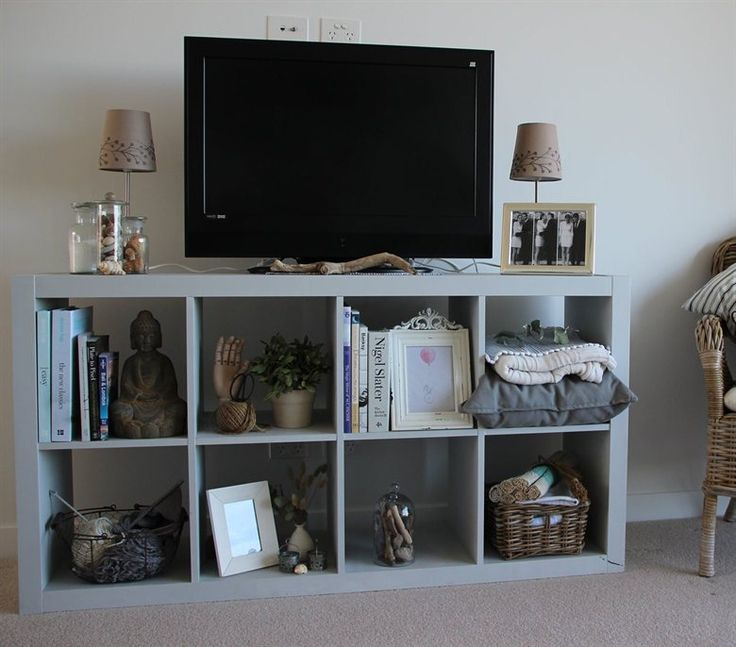 Turn A Kallax Unit Into A Tv Stand And A Place To Display Bedroom Tv Standstorage Ideasgood
