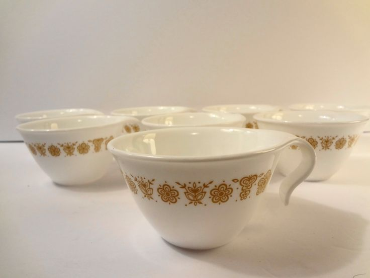 8 Corelle Corning Butterfly Gold Flat Cup Hook Handle 2 1/4 inches Discontinued vintage MCM retro by TresTresInteressant on Etsy