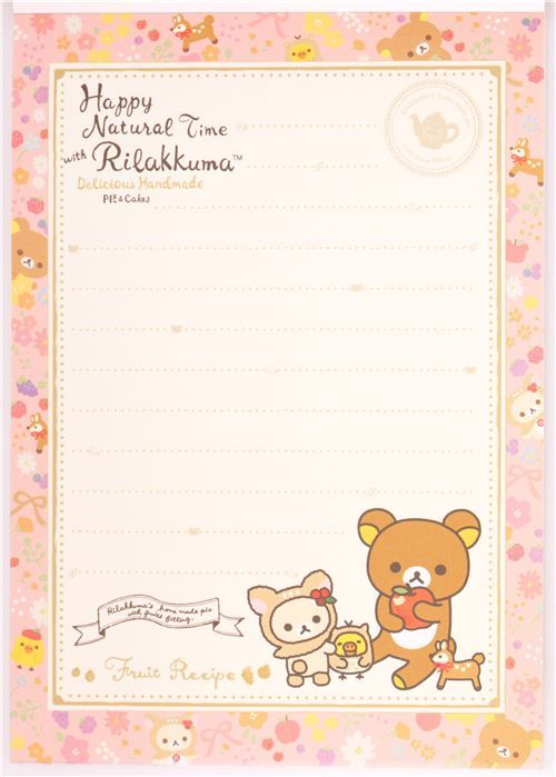 Blocco note cervo Rilakkuma orso fiori mele con adesivi - Quaderni e bloc-notes - Cancelleria - negozio kawaii modeS4u