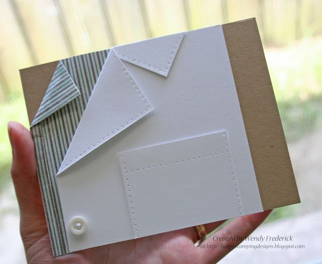 looks like a good way to make a male card, different colors or different patterns in paper could change the mood of the card