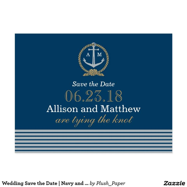 Wedding Save the Date | Navy and Tan Nautical Postcard Announce your wedding in style with these nautical themed save the date postcards! Features an anchor and rope monogram and horizontal stripes on the front and additional wedding details and space for an address and stamp on the back. Personalize with your custom text. Color scheme: navy blue, cognac tan brown, and white.