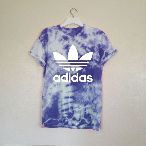 Unisex Hand Printed & Customized Adidas Trefoil Oversized Print Tie Dye Tee in Navy