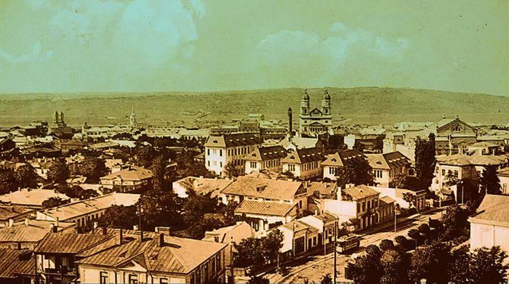 """Strada """"Cuza-Voda"""" si vedere generala spre Catedrala, Iasi, Romania"""