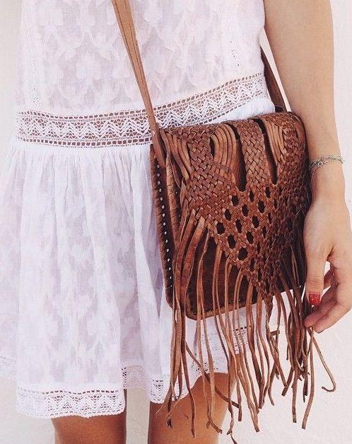 lace dress + tassel bag