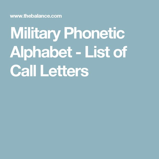 Military Phonetic Alphabet - List of Call Letters