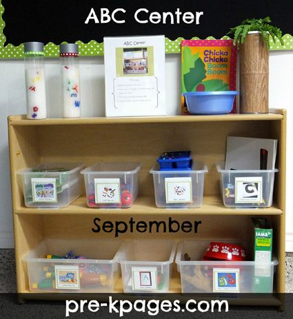 ABC Center... AMAZING ideas!  Love the Chica Chica Boom Boom Tree... Lots of links to ideas and other PreK centers (same page as writing center I pinned earlier)