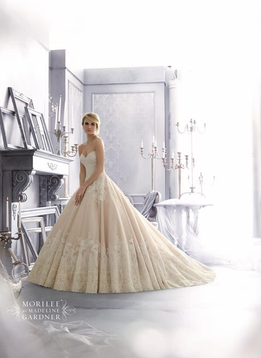 Mori Lee Bridal by Madeline Gardner - 2674 elaines GB - I like the pattern on the top- not so much the bottom, but what a princess shape!