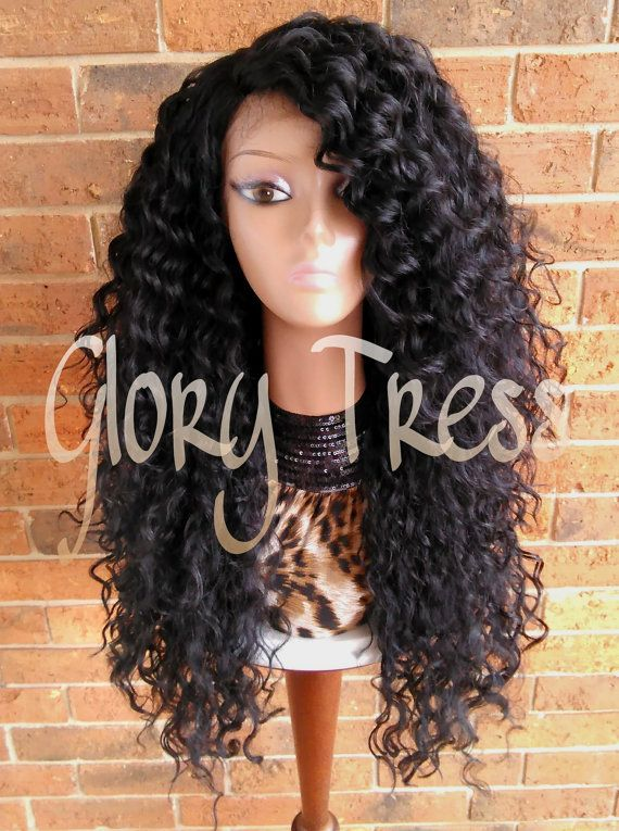 ON SALE // Long Beach Curly Lace Front Wig Black Curly Wig