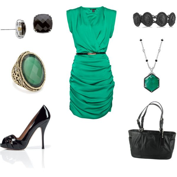 Jade and black dress outfit