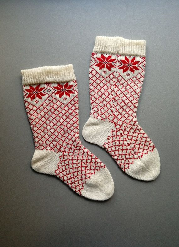 SALE: Wool hand-made socks with ribbed top socks by LanaNere