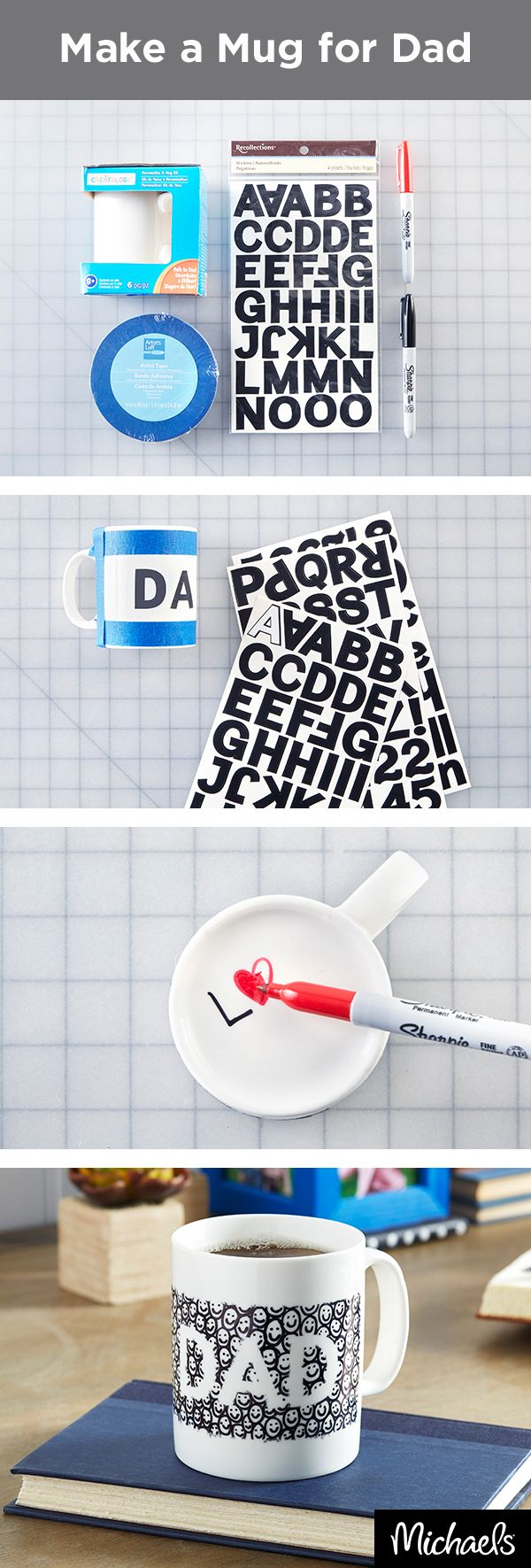 """Doodle Dad a new mug for Father's Day in just a few simple steps. After washing and drying the mug, tape off the top and bottom & add adhesive stickers to spell out """"Dad"""". Next, use a Sharpie® marker to fill in the space with smiley faces. Let your doodles dry and remove the stickers to reveal your masterpiece. Dad is sure to love this handmade mug! Find everything you need for this project at your local Michaels store and make this Father's Day gift one to remember."""