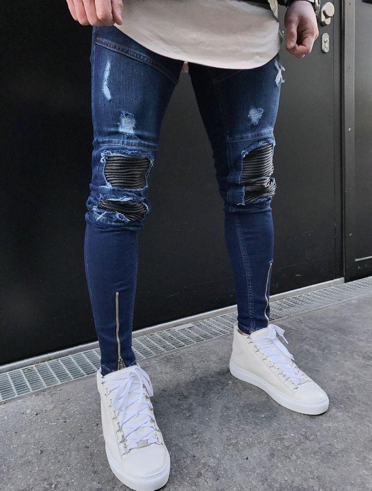 Aliexpress.com: Comprar Azul Cremallera Dobladillo Stretch Rodilla biker Jeans Rasgados Agujero Hombres de La Cadera hop marca de ropa pantalones skinny jeans de moda hombres de la marca 2017 nuevo de man hole fiable proveedores en fortune day #mensjeansbrands #mensjeans2017