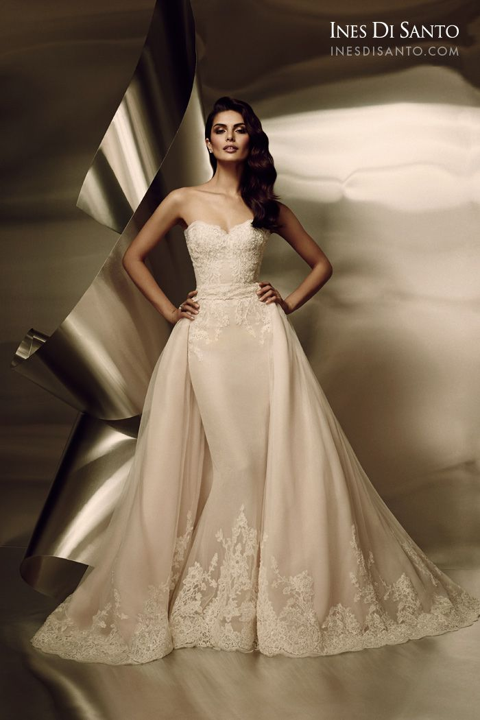 Ines Di Santo: BARCELONA Strapless Fit-to-flare Art Deco Inspired gown made in luxurious Silk Tulle and Organza with soft Petal Pink underlay and elegant beaded lace appliqués throughout bodice and hemline. Features a dramatic illusion back. http://www.bridalreflections.com/bridal-dress-designers/ines-di-santo