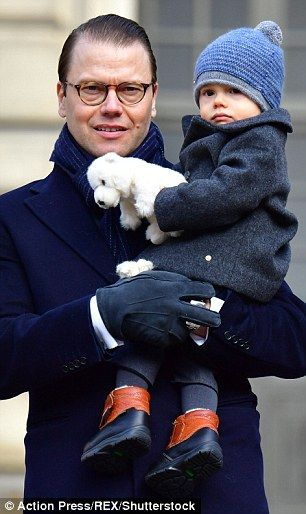 Prince Oscar, pictured with his father, joined the festivities