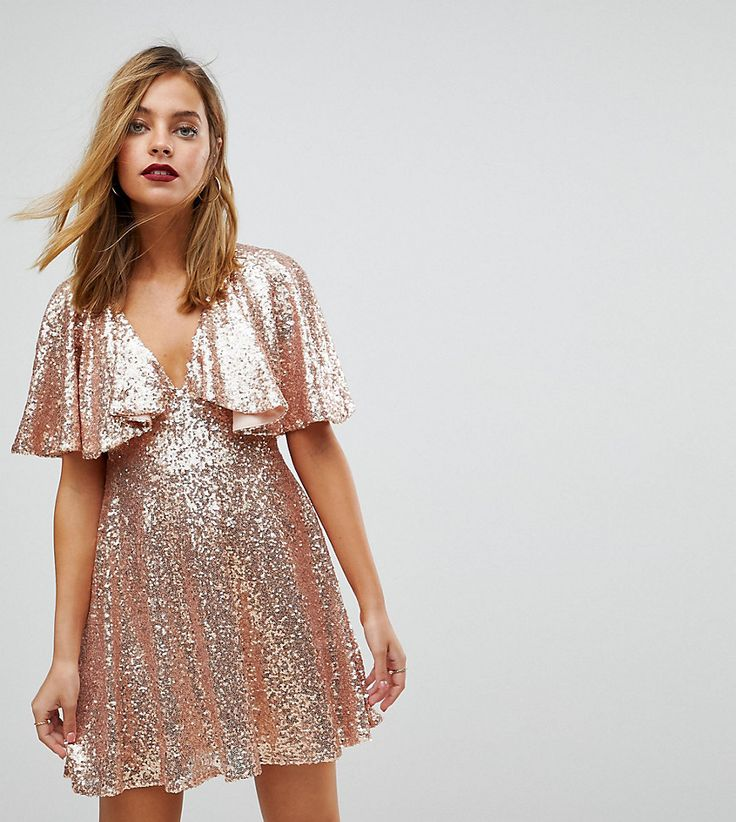 ASOS PETITE Sequin Fluted Sleeve Lace Mini Dress - Pink