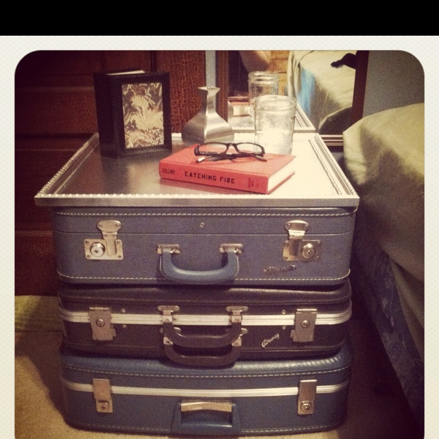 Suitcase end table with spray painted picture frame:)