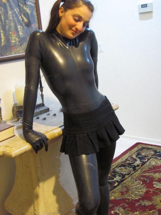 Clothes spandex fashion silver fetish
