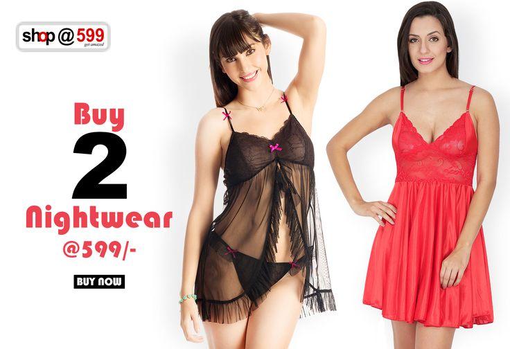 Buy Any 2 Nightwear @ Rs.599 Shop Now : http://buff.ly/1OcIQf3 #nightwear   #sexydresses   #ladydress   #women   #fashion   #blacknightwear