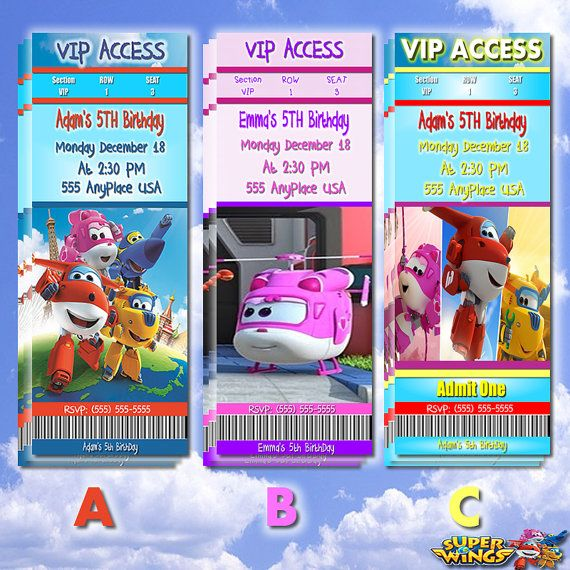 Super Wings Invitations Super Wings Custom By