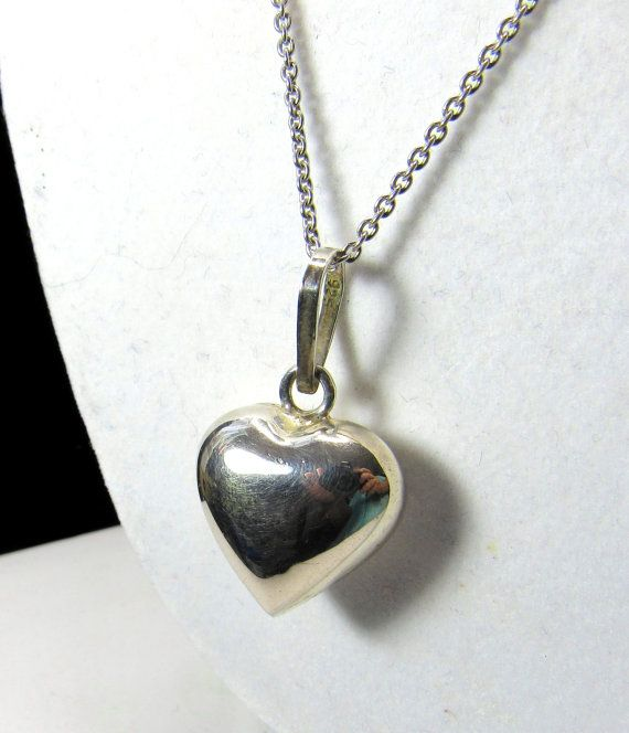 Hey, I found this really awesome Etsy listing at https://www.etsy.com/listing/266018186/heart-puff-sterling-silver-necklace-w-ss
