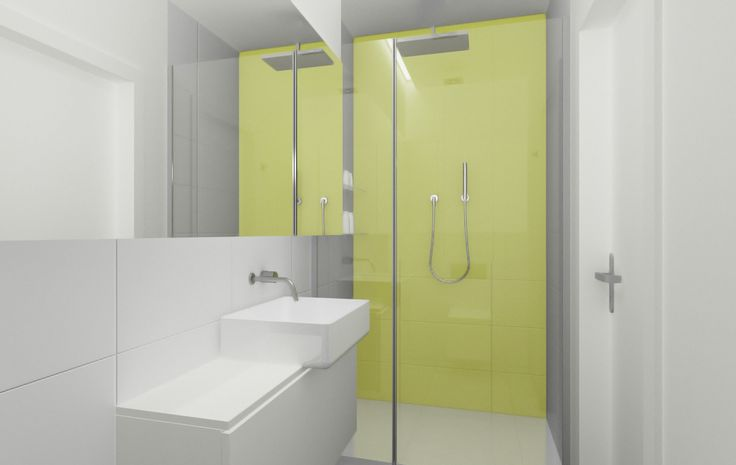 Prosta biała łazienka z mocnym akcentem kolorystycznym