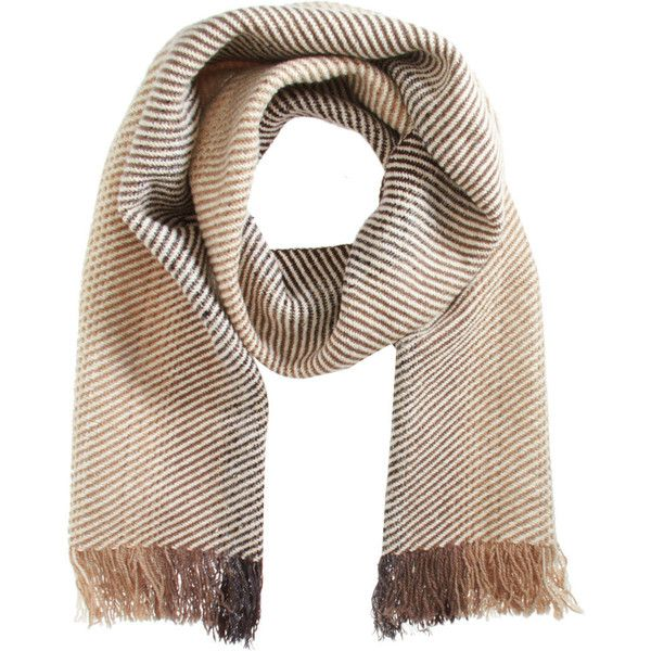 Margaret Howell Gradient Knit Scarf ($109) ❤ liked on Polyvore featuring accessories, scarves, men, knit scarves, brown shawl, margaret howell, knit shawl and brown scarves