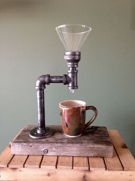This Industrial pipe and reclaimed wood pour over coffee maker is made from 1/2 inch plumbing pipe and glass. Great for your home or business. Does not include filters.  Items are handmade upon ordering, so the piece you purchase may have slight variations from the photographed item. This makes yours one-of-a kind. The piece has been clear coated for durability.  We have many industrial style items in stock and offer discounts for combined shipping on multiple orders and sets of handles.  I…